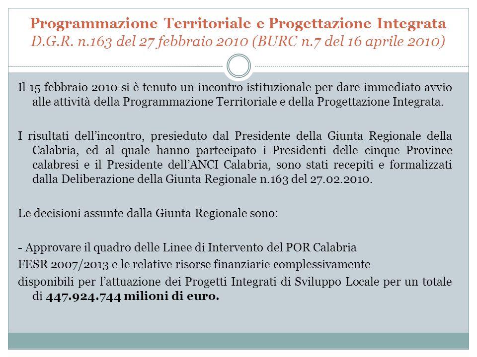 Programmazione Territoriale e Progettazione Integrata D.G.R.