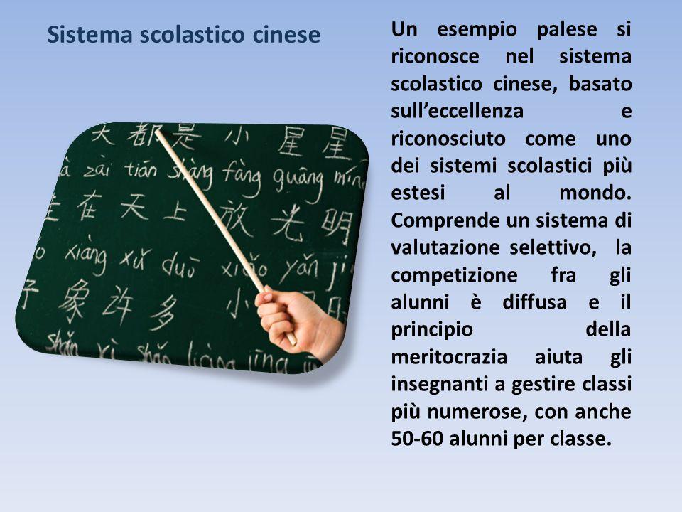 Un esempio palese si riconosce nel sistema scolastico cinese, basato sull'eccellenza e riconosciuto come uno dei sistemi scolastici più estesi al mondo.