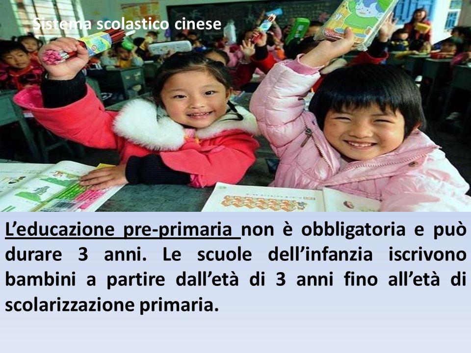 L'educazione pre-primaria non è obbligatoria e può durare 3 anni.