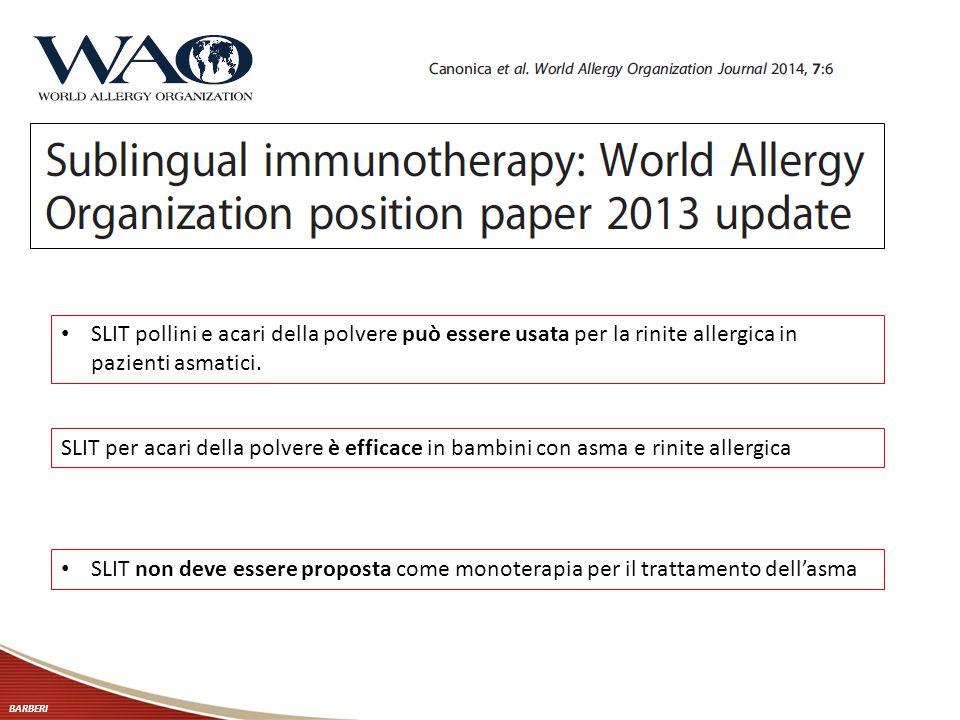 BARBERI SLIT pollini e acari della polvere può essere usata per la rinite allergica in pazienti asmatici. SLIT non deve essere proposta come monoterap