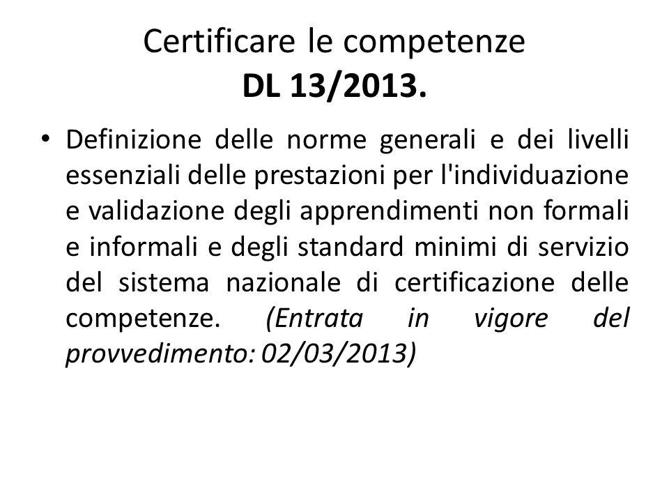 Definizioni: apprendimento permanente, formale, non formale, informale; competenza, enti pubblici titolari; individuazione e validazione delle competenze; certificazione delle competenze.
