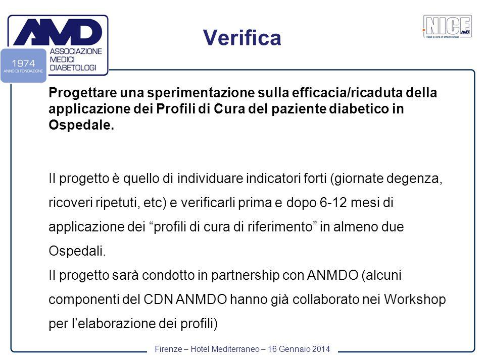Firenze – Hotel Mediterraneo – 16 Gennaio 2014 Progettare una sperimentazione sulla efficacia/ricaduta della applicazione dei Profili di Cura del paziente diabetico in Ospedale.