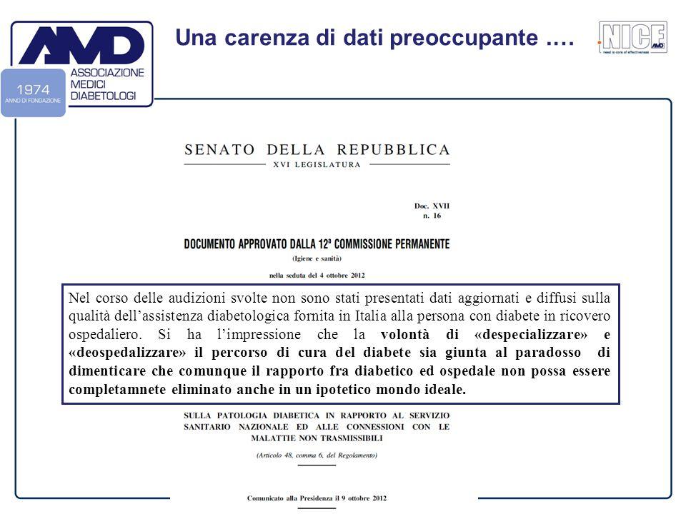 Firenze – Hotel Mediterraneo – 16 Gennaio 2014 Una carenza di dati preoccupante.… Nel corso delle audizioni svolte non sono stati presentati dati aggiornati e diffusi sulla qualità dell'assistenza diabetologica fornita in Italia alla persona con diabete in ricovero ospedaliero.