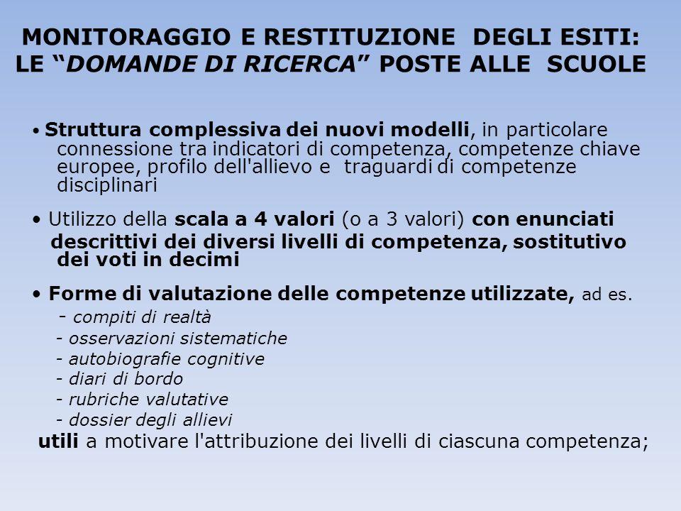 """MONITORAGGIO E RESTITUZIONE DEGLI ESITI: LE """"DOMANDE DI RICERCA"""" POSTE ALLE SCUOLE Struttura complessiva dei nuovi modelli, in particolare connessione"""