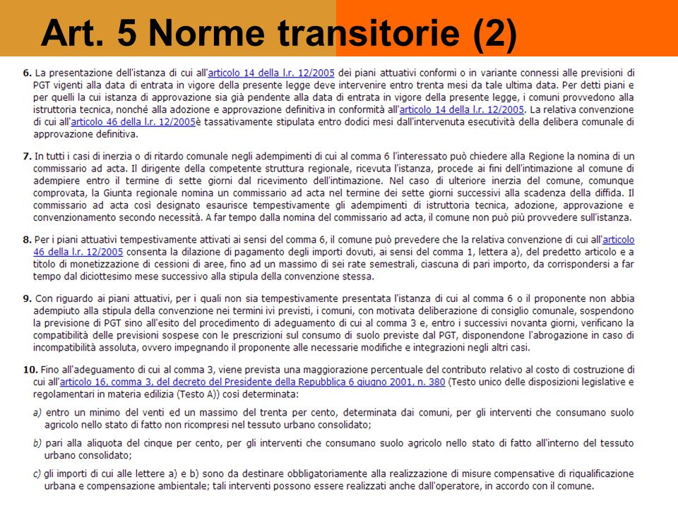 Art. 5 Norme transitorie (2)