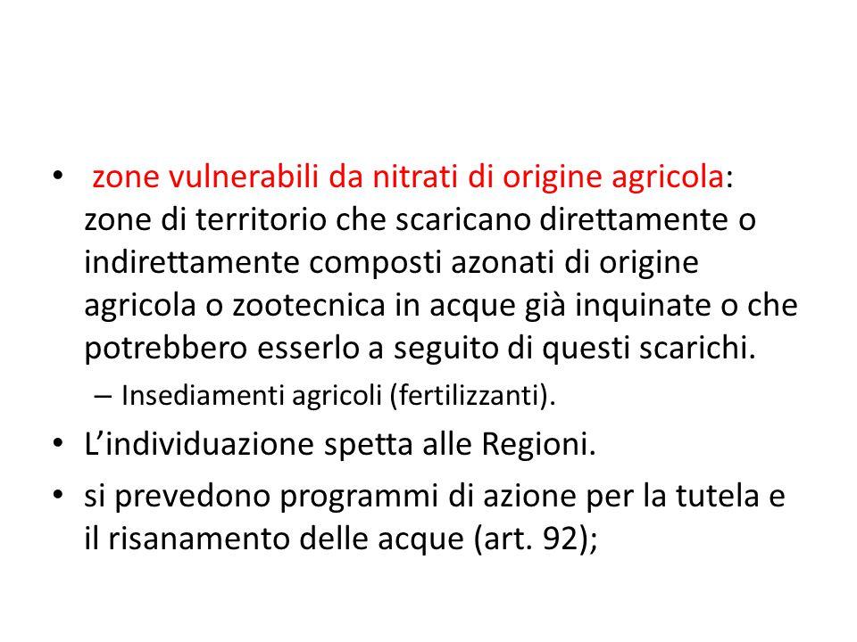 zone vulnerabili da nitrati di origine agricola: zone di territorio che scaricano direttamente o indirettamente composti azonati di origine agricola o