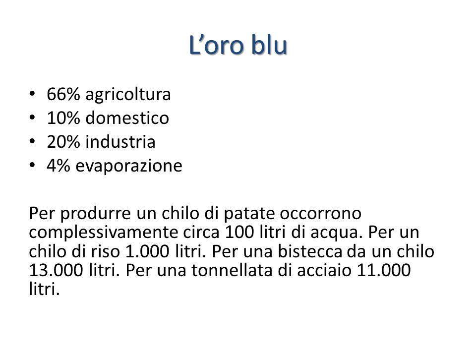 L'oro blu 66% agricoltura 10% domestico 20% industria 4% evaporazione Per produrre un chilo di patate occorrono complessivamente circa 100 litri di ac