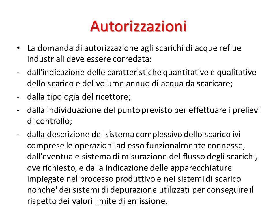 Autorizzazioni La domanda di autorizzazione agli scarichi di acque reflue industriali deve essere corredata: -dall'indicazione delle caratteristiche q