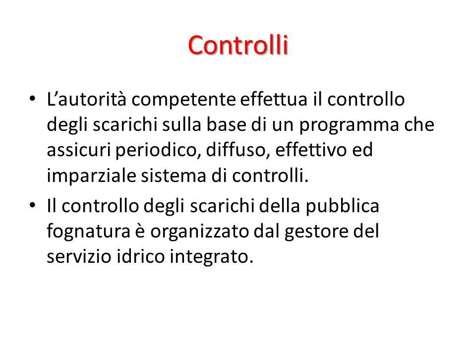 Controlli L'autorità competente effettua il controllo degli scarichi sulla base di un programma che assicuri periodico, diffuso, effettivo ed imparzia