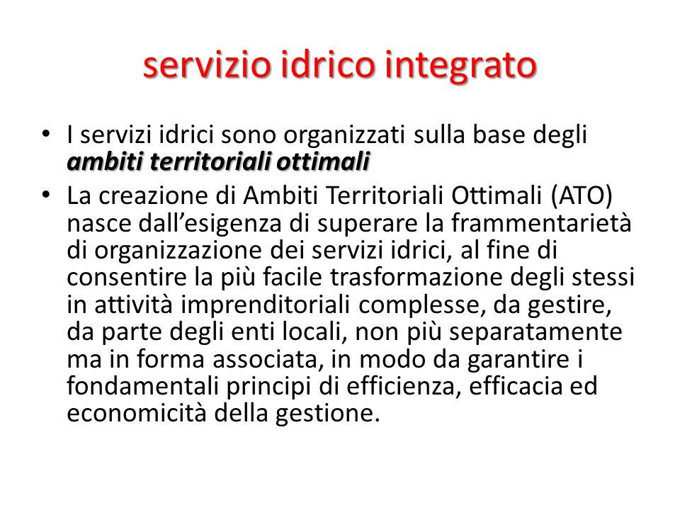 servizio idrico integrato ambiti territoriali ottimali I servizi idrici sono organizzati sulla base degli ambiti territoriali ottimali La creazione di