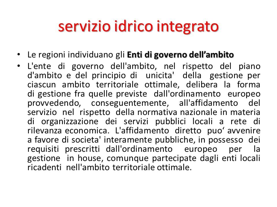 servizio idrico integrato Enti di governo dell'ambito Le regioni individuano gli Enti di governo dell'ambito L'ente di governo dell'ambito, nel rispet
