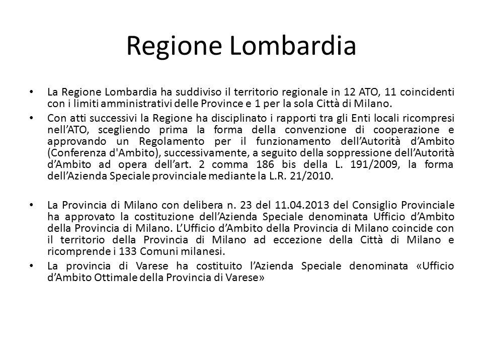 Regione Lombardia La Regione Lombardia ha suddiviso il territorio regionale in 12 ATO, 11 coincidenti con i limiti amministrativi delle Province e 1 p
