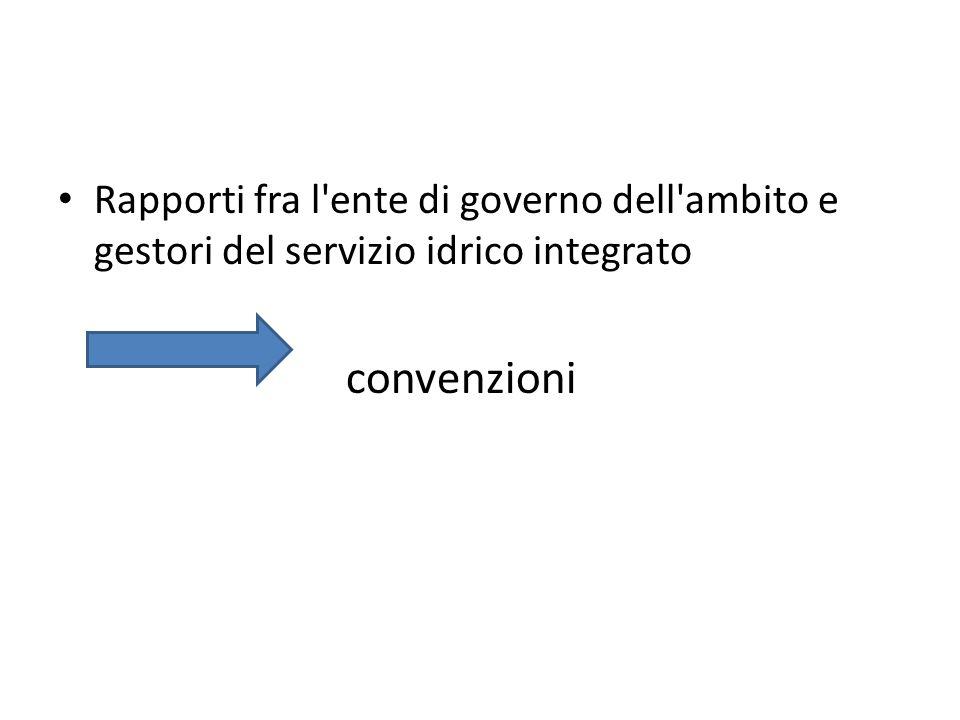 Rapporti fra l'ente di governo dell'ambito e gestori del servizio idrico integrato convenzioni