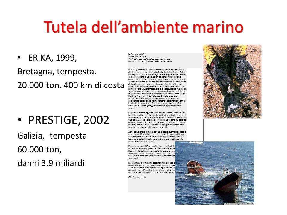 Tutela dell'ambiente marino ERIKA, 1999, Bretagna, tempesta. 20.000 ton. 400 km di costa PRESTIGE, 2002 Galizia, tempesta 60.000 ton, danni 3.9 miliar