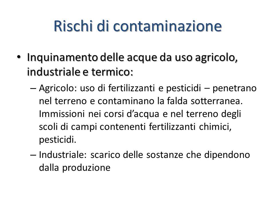 Rischi di contaminazione Inquinamento delle acque da uso agricolo, industriale e termico: Inquinamento delle acque da uso agricolo, industriale e term