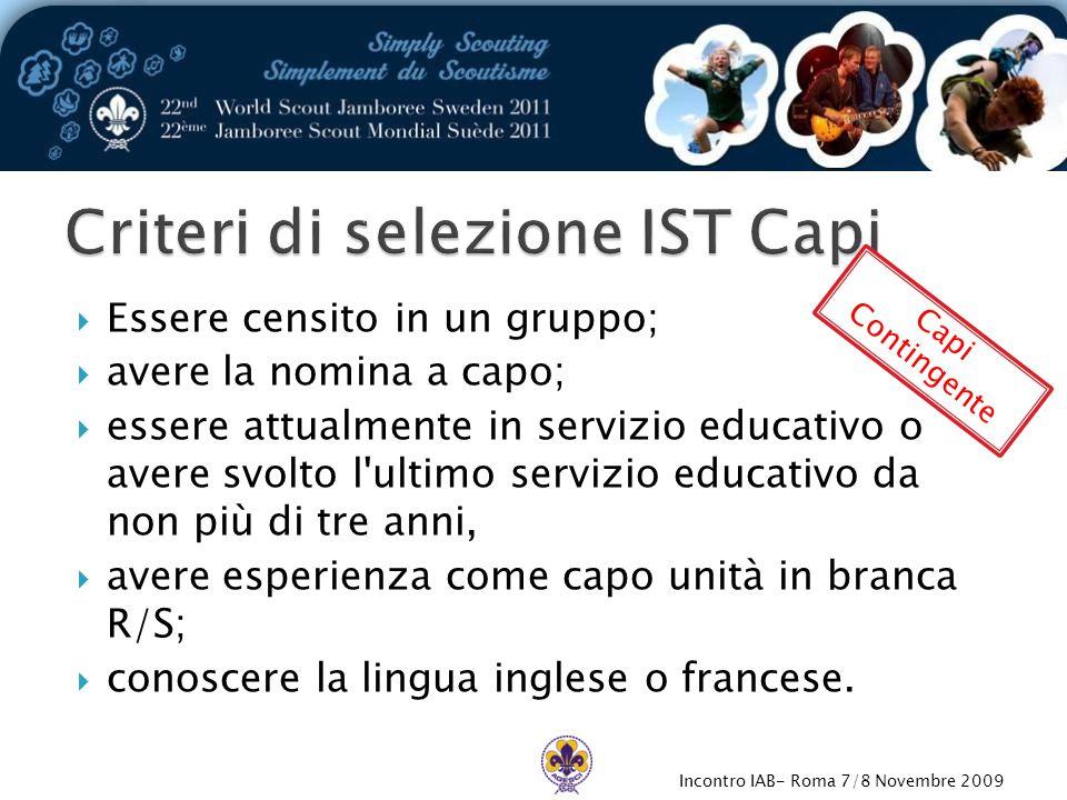Incontro IAB- Roma 7/8 Novembre 2009  Essere censito in un gruppo;  avere la nomina a capo;  essere attualmente in servizio educativo o avere svolt