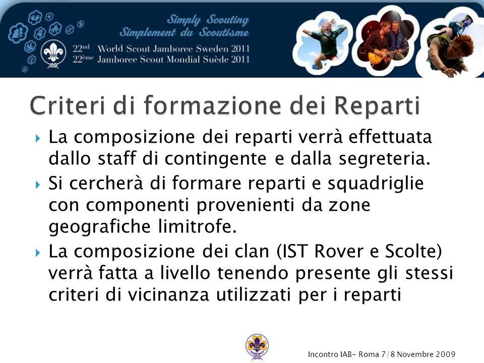 Incontro IAB- Roma 7/8 Novembre 2009  La composizione dei reparti verrà effettuata dallo staff di contingente e dalla segreteria.