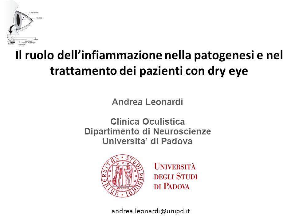 Il ruolo dell'infiammazione nella patogenesi e nel trattamento dei pazienti con dry eye Andrea Leonardi Clinica Oculistica Dipartimento di Neuroscienz
