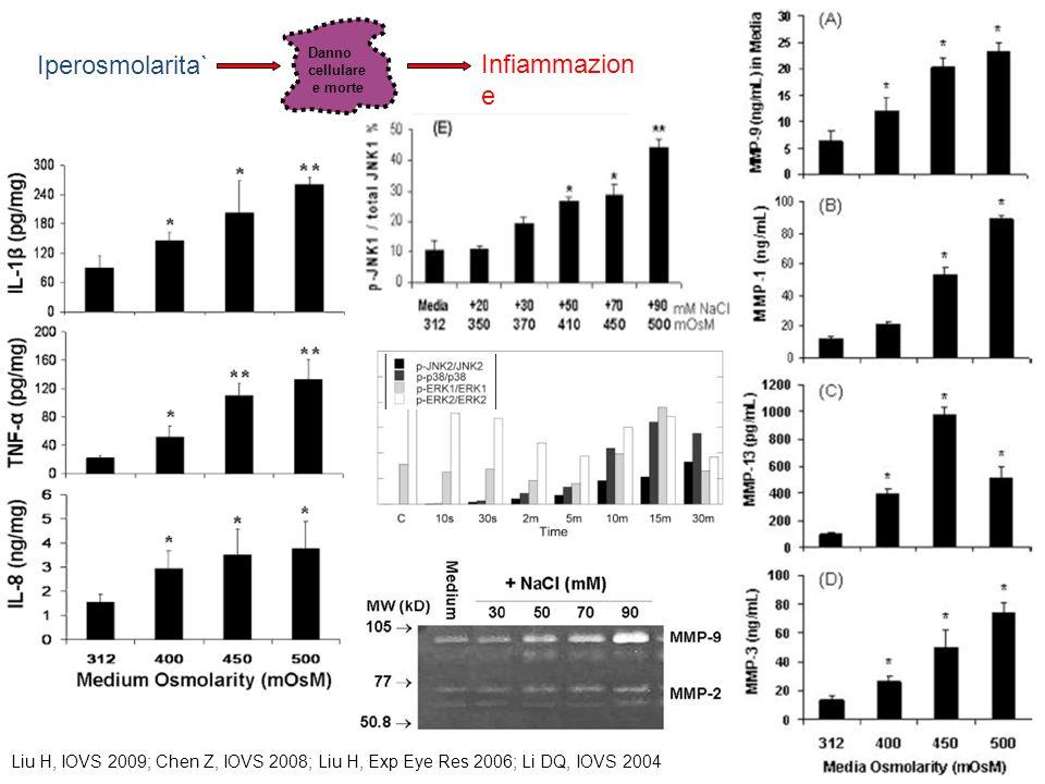 Infiammazion e Danno cellulare e morte Iperosmolarita` Liu H, IOVS 2009; Chen Z, IOVS 2008; Liu H, Exp Eye Res 2006; Li DQ, IOVS 2004