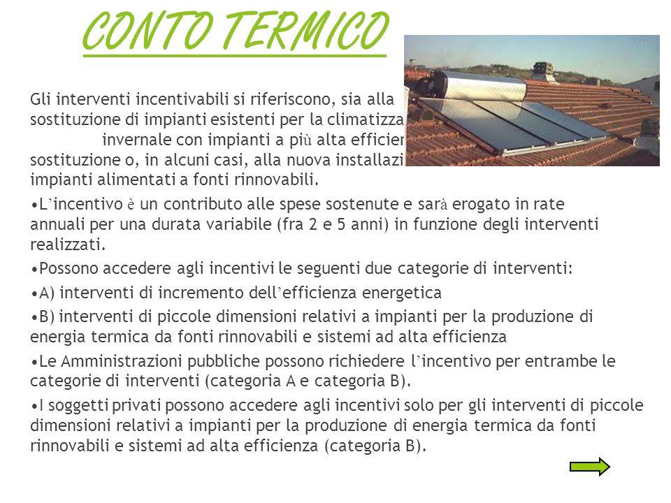 CONTO ENERGIA Meccanismo di incentivazione dedicato agli impianti solari fotovoltaici e solari termodinamici.