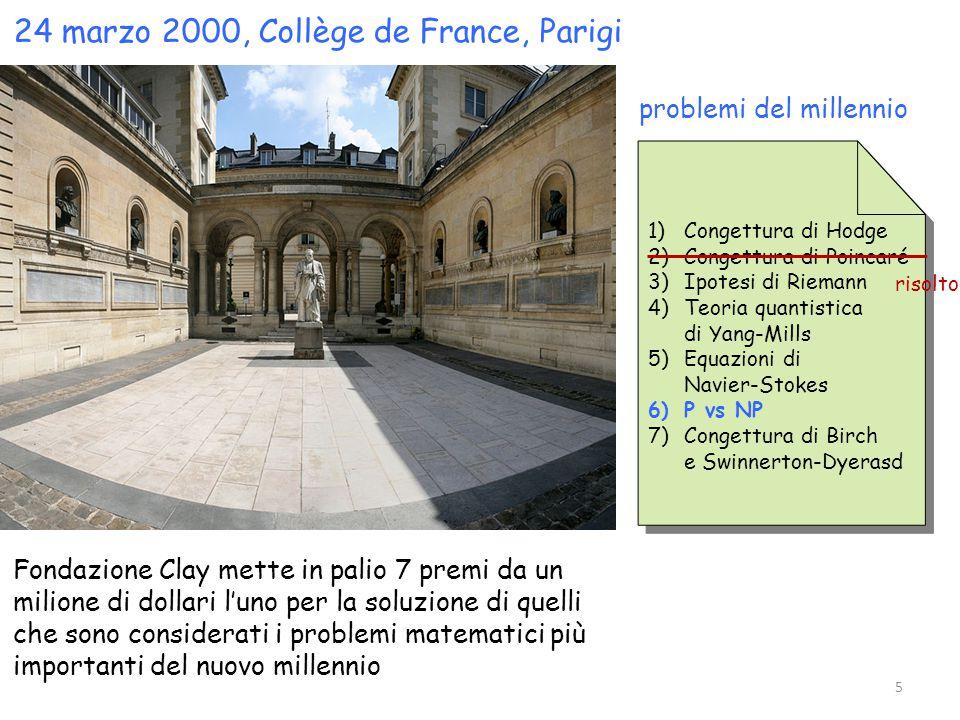 24 marzo 2000, Collège de France, Parigi Fondazione Clay mette in palio 7 premi da un milione di dollari l'uno per la soluzione di quelli che sono considerati i problemi matematici più importanti del nuovo millennio problemi del millennio 1)Congettura di Hodge 2)Congettura di Poincaré 3)Ipotesi di Riemann 4)Teoria quantistica di Yang-Mills 5)Equazioni di Navier-Stokes 6)P vs NP 7)Congettura di Birch e Swinnerton-Dyerasd risolto 5