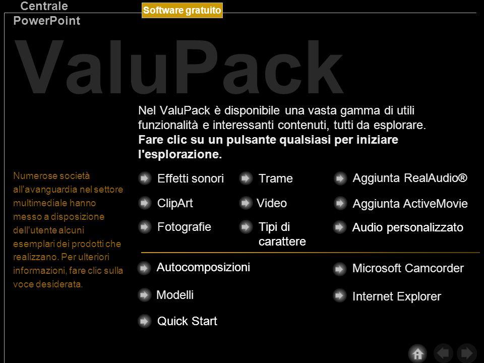 Software gratuito Centrale PowerPoint ValuPack Numerose società all avanguardia nel settore multimediale hanno messo a disposizione dell utente alcuni esemplari dei prodotti che realizzano.