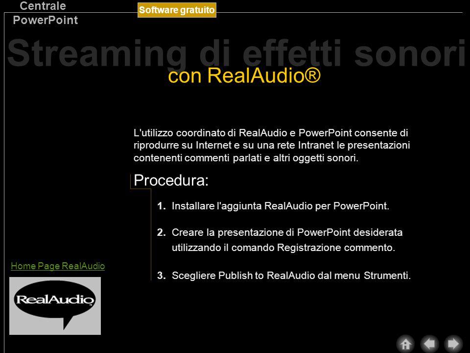 Software gratuito Centrale PowerPoint RealAudio è un utile funzionalità che consente di inserire oggetti sonori su Internet e su una rete Intranet e di ascoltarli in tempo reale.