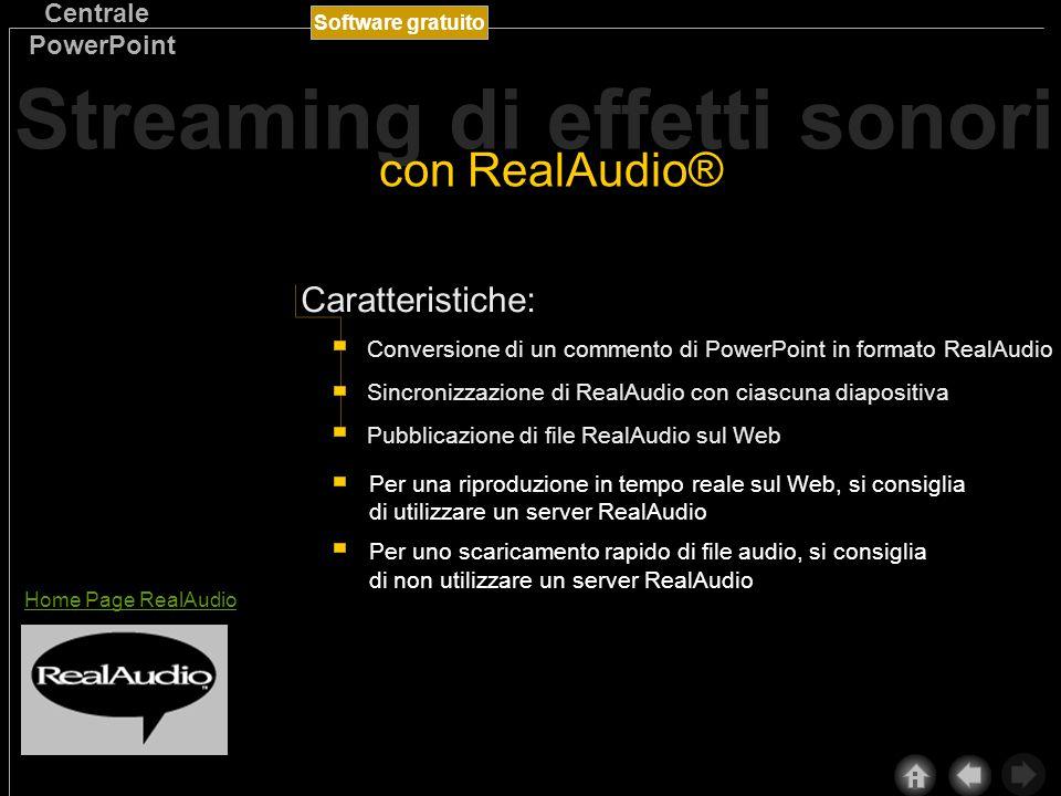 Software gratuito Centrale PowerPoint L utilizzo coordinato di RealAudio e PowerPoint consente di riprodurre su Internet e su una rete Intranet le presentazioni contenenti commenti parlati e altri oggetti sonori.
