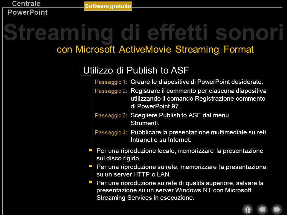 Software gratuito Centrale PowerPoint È possibile convertire una presentazione contenente oggetti sonori in formato ActiveMovie Streaming Format per eseguirla su Internet e su una rete Intranet con una tecnologia detta streaming (flusso continuo).