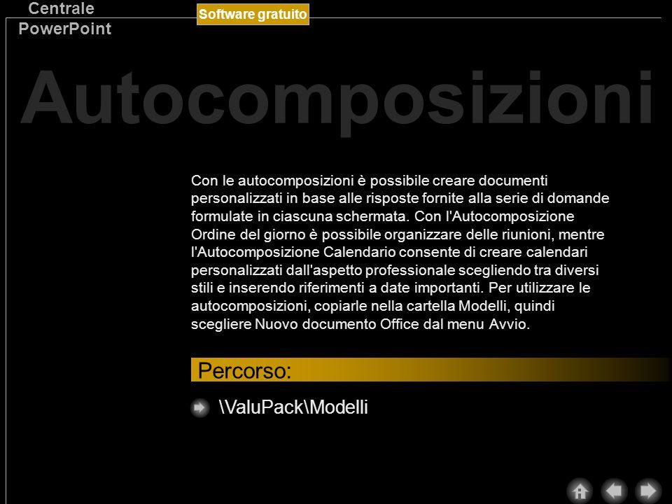 Software gratuito Centrale PowerPoint Nel ValuPack sono disponibili le autocomposizioni di Microsoft Word che consentono di lavorare in modo più rapido e produttivo.