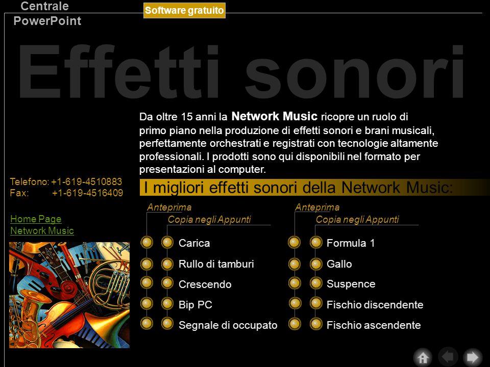 Software gratuito Centrale PowerPoint Da oltre 15 anni la Network Music ricopre un ruolo di primo piano nella produzione di effetti sonori e brani musicali, perfettamente orchestrati e registrati con tecnologie altamente professionali.