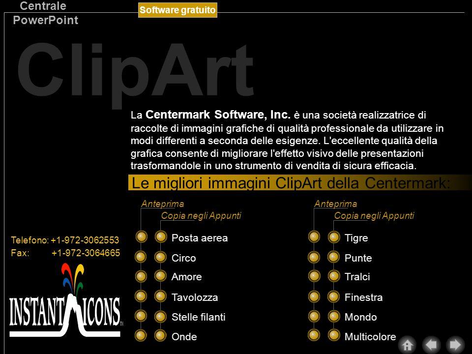 Software gratuito Centrale PowerPoint ClipArt Nel ValuPack sono incluse ben 3000 immagini ClipArt aggiuntive della Microsoft.