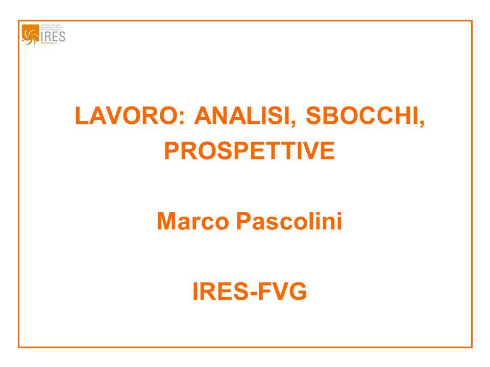 LAVORO: ANALISI, SBOCCHI, PROSPETTIVE Marco Pascolini IRES-FVG