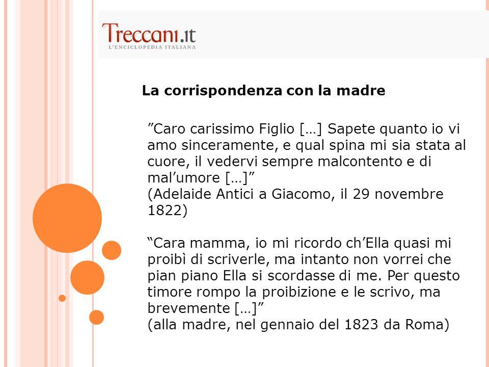 Solo nel 1822, il 17 novembre, Giacomo riesce a rendere concreto il suo desiderio di evasione; con il permesso dei genitori si unisce alla famiglia Antici (parenti della madre, Adelaide) che fa ritorno a Roma per l'inverno.