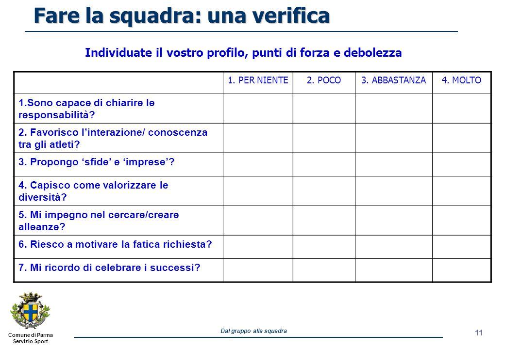 Comune di Parma Servizio Sport Dal gruppo alla squadra Individuate il vostro profilo, punti di forza e debolezza Fare la squadra: una verifica 1. PER
