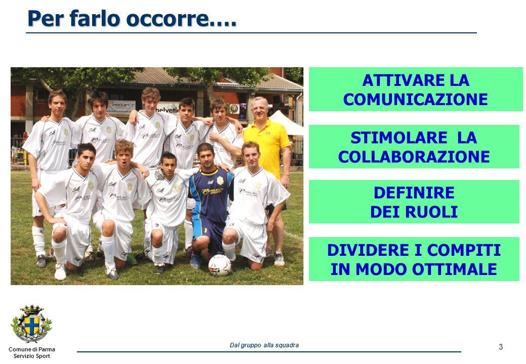 Comune di Parma Servizio Sport Dal gruppo alla squadra 3 ATTIVARE LA COMUNICAZIONE STIMOLARE LA COLLABORAZIONE DIVIDERE I COMPITI IN MODO OTTIMALE DEF