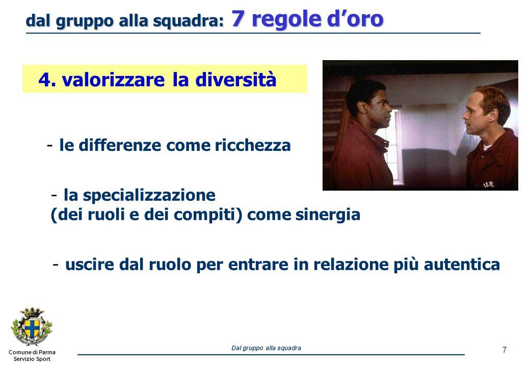 Comune di Parma Servizio Sport Dal gruppo alla squadra 8 - stimolare co-leader di sottogruppo - valorizzare i leader emotivi 5.