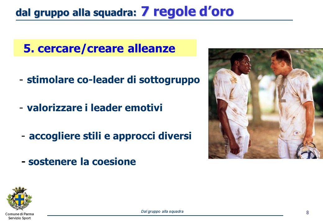 Comune di Parma Servizio Sport Dal gruppo alla squadra 8 - stimolare co-leader di sottogruppo - valorizzare i leader emotivi 5. cercare/creare alleanz