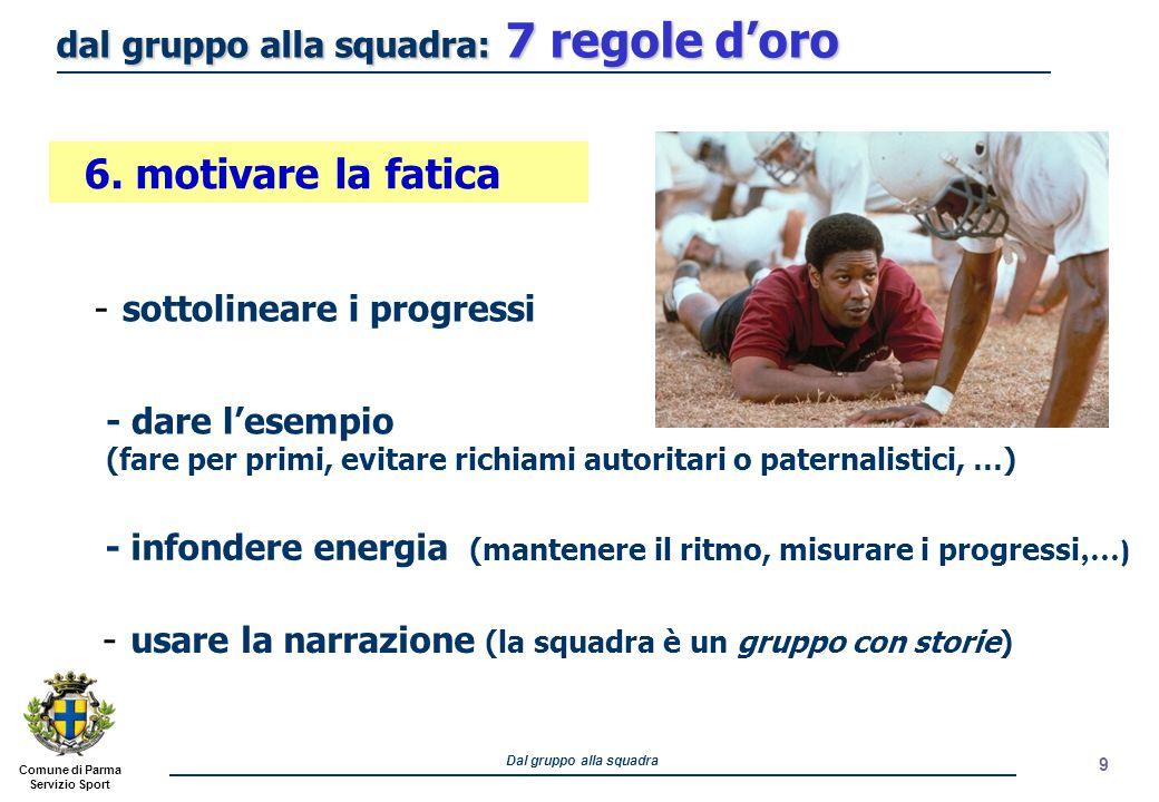 Comune di Parma Servizio Sport Dal gruppo alla squadra 10 - creare segni e riti di riconoscimento - rinnovare il linguaggio 7.