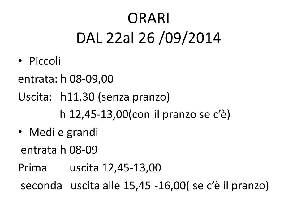 DAL 29 /09/2014 TUTTE LE CLASSI A REGIME N.B.