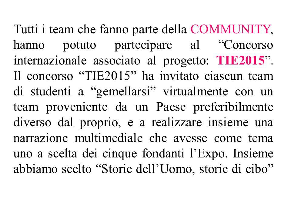 """Tutti i team che fanno parte della COMMUNITY, hanno potuto partecipare al """"Concorso internazionale associato al progetto: TIE2015"""". Il concorso """"TIE20"""
