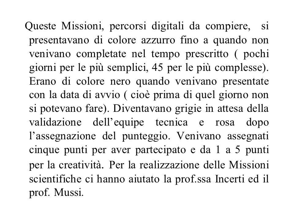 Queste Missioni, percorsi digitali da compiere, si presentavano di colore azzurro fino a quando non venivano completate nel tempo prescritto ( pochi g