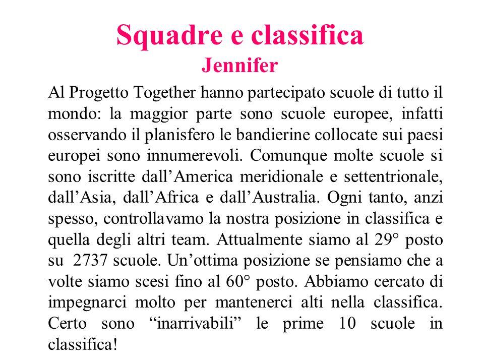 Squadre e classifica Jennifer Al Progetto Together hanno partecipato scuole di tutto il mondo: la maggior parte sono scuole europee, infatti osservand