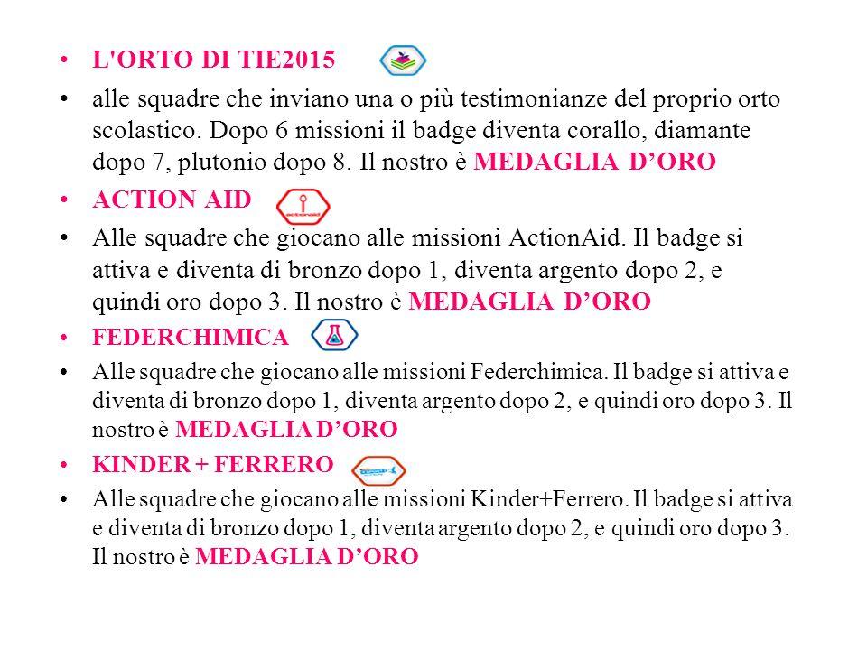 L'ORTO DI TIE2015 alle squadre che inviano una o più testimonianze del proprio orto scolastico. Dopo 6 missioni il badge diventa corallo, diamante dop