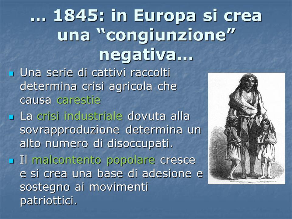"""… 1845: in Europa si crea una """"congiunzione"""" negativa... Una serie di cattivi raccolti determina crisi agricola che causa carestie Una serie di cattiv"""