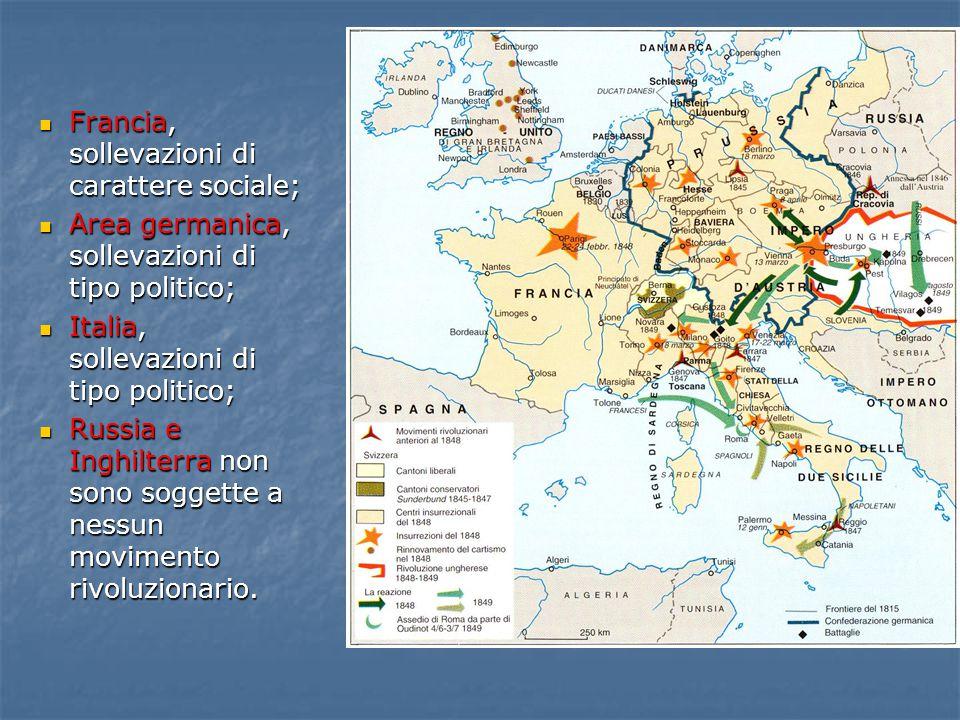 Francia, sollevazioni di carattere sociale; Area germanica, sollevazioni di tipo politico; Italia, sollevazioni di tipo politico; Russia e Inghilterra non sono soggette a nessun movimento rivoluzionario.