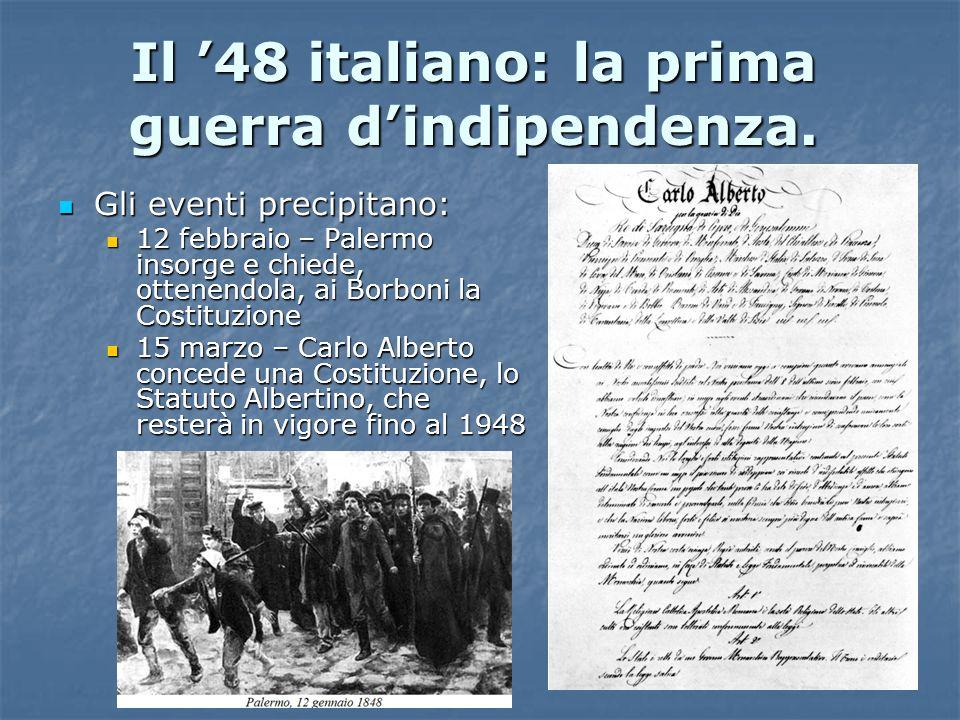 Il '48 italiano: la prima guerra d'indipendenza. Gli Gli eventi precipitano: 12 12 febbraio – Palermo insorge e chiede, ottenendola, ai Borboni la Cos