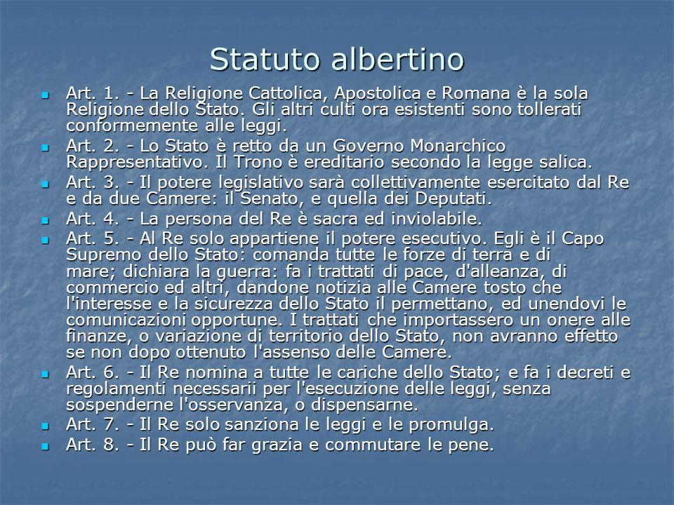 Statuto albertino Art. 1. - La Religione Cattolica, Apostolica e Romana è la sola Religione dello Stato. Gli altri culti ora esistenti sono tollerati