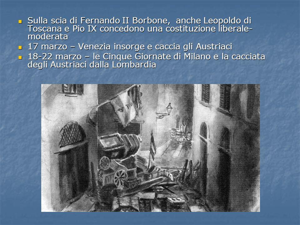 Sulla scia di Fernando II Borbone, anche Leopoldo di Toscana e Pio IX concedono una costituzione liberale- moderata Sulla scia di Fernando II Borbone,