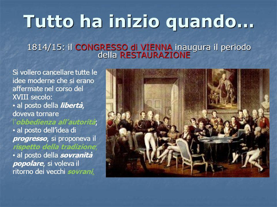 Tutto ha inizio quando… 1814/15: il CONGRESSO di VIENNA inaugura il periodo della RESTAURAZIONE Si vollero cancellare tutte le idee moderne che si erano affermate nel corso del XVIII secolo: al posto della libertà, doveva tornare l'obbedienza all'autorità; al posto dell'idea di progresso, si proponeva il rispetto della tradizione; al posto della sovranità popolare, si voleva il ritorno dei vecchi sovrani.